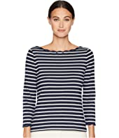 Kate Spade New York - Broome Street Stripe Scallop Knit Top