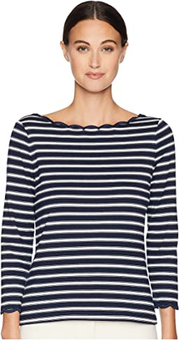 Broome Street Stripe Scallop Knit Top