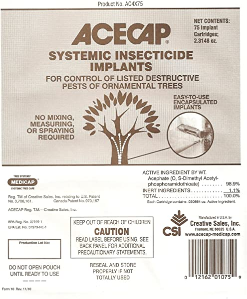 Acecap 75 Pack Systemic Insecticide Tree Implants For Control Of Tree Pests 3 8 Inch