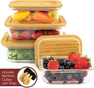 Glass Food Storage Containers with Eco-Friendly, Plastic Free Bamboo Lids, Set of 4. Sustainable, BPA Free. Includes Bamboo Cutlery & Adjustable Wrap. Glass Bento Box Great for Meal Prep Containers