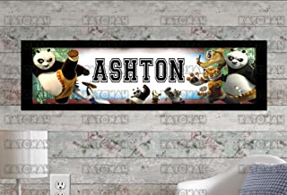 KATONAH Customized Name Painting Kung Fu Panda Poster with Your Name On It Personalized Banner with Border Mat
