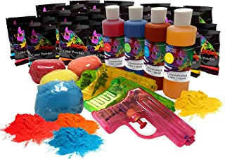 Holi Powder Party Box by Chameleon Colors - This Kit is Pure Fun for a Color Races, 5k, Festival, Party, etc. A Colorful Mix of Chalk and Liquid for Variety.