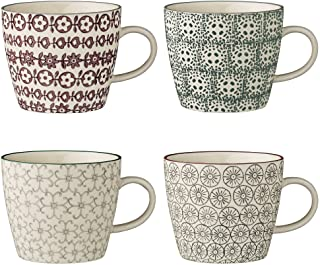 Tasses Karine, Gris/Noir, Gris/Vert/Violet, 4 pièces