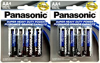 Panasonic 5741 8PC AA Batteries Super Heavy Duty Power Carbon Zinc Double A Battery 1.5V, Black (Pack of 8)
