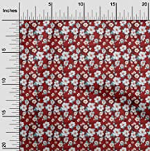 oneOone Cotton Cambric Red Fabric Sunflower Floral DIY Clothing Quilting Fabric Print Fabric by Yard 42 Inch Wide