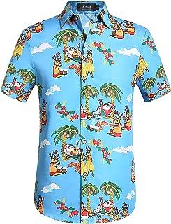 SSLR Men's Xmas Santa Holiday Casual Hawaiian Ugly Christmas Shirt