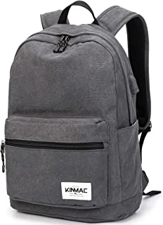 Kinmac Grey Canvas 15 inch Waterproof Laptop Travel Outdoor Backpack with USB Charging Port for 13 inch 14 inch and 15.6 inch Laptop