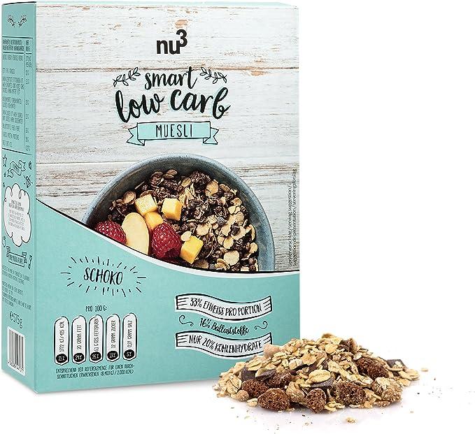 nu3 Muesli Low Carb sabor chocolate   575g de mezcla de avena y cereales   Desayuno vegano nutritivo bajo en carbohidratos   100% más fibra y 200% más ...