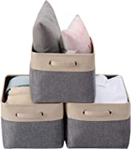 DECOMOMO Extra Large Foldable Storage Bin [3-Pack] Collapsible Sturdy Cationic Fabric Basket W/Handles for Organizing Shel...