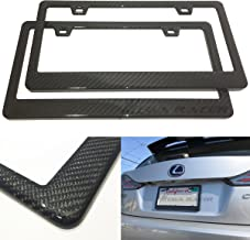 Mega Racer (Pack of 2 JDM Style 100% Real Carbon Fiber License Plate Frame Holder Twill Weave Front/Rear USA Auto Car