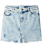 Acid Rinse Distressed Mini Skirt (Big Kids)