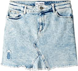 DL1961 Kids - Acid Rinse Distressed Mini Skirt (Big Kids)