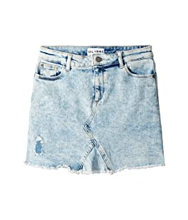 Acid Rinse Distressed Mini Skirt (Big Kids)