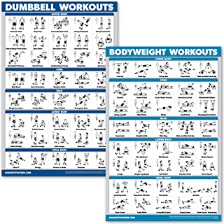 QuickFit Dumbbell Workouts and Bodyweight Exercise Poster Set - Laminated 2 Chart Set - Dumbbell Exercise Routine & Body Weight Workouts