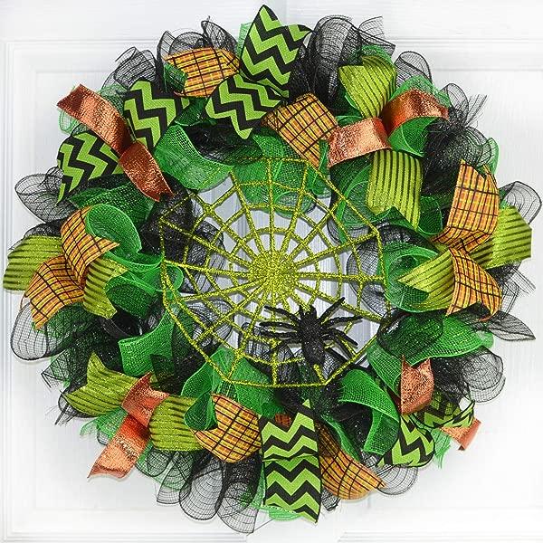 Green Spider Web Wreath Halloween Mesh Outdoor Front Door Wreath Black Orange