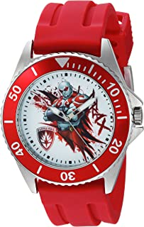 Marvel Men's Guardian Stainless Steel Analog-Quartz Watch with Rubber Strap, red, 22 (Model: WMA000123)