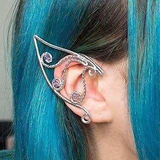 Handir ear cuff orecchini elfici in acciaio inossidabile argento con pietre
