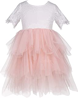 Everweekend Flower Girls Tutu Tulle Lace Cake Dress Rose Lace Back Tiered Party Dresses