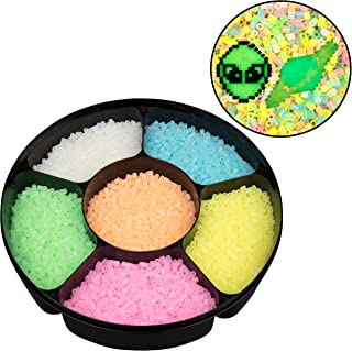 9,000 Glow in The Dark Fuse Beads Set (6 Different Colors) in Case and Separated - Works with Perler Beads