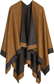 Women's Shawl Wrap Poncho Ruana Cape Cardigan Sweater Open Front for Fall Winter