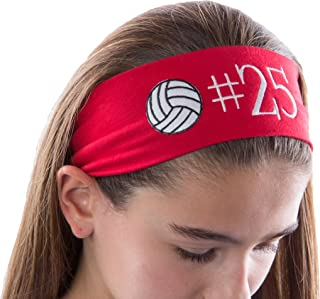 Personalized Monogrammed Embroidered Volleyball Patch Cotton Stretch Headband CHOOSE YOUR CUSTOM COLORS FROM CHARTS IN THIS LISTING