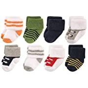 Luvable Friends Baby 8 Pack Newborn Socks, Boy Athletic, 0-6 Months