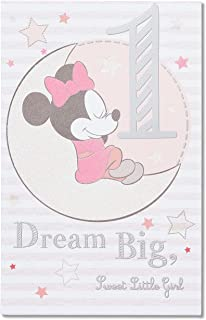 American Greetings 1st Birthday Card for Girl (Minnie Mouse, Dream Big)