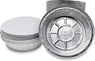 "Fig & Leaf (45 Pack) Premium 9-Inch Round Foil Pans with Board Lids l 2"" High Walls to Prevent Spills l Heavy Duty 28 Gauge l Disposable Aluminum Tin for Roasting, Baking, or Cooking"