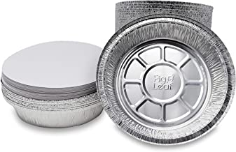 """Fig & Leaf (45 Pack) Premium 9-Inch Round Foil Pans with Board Lids l 2"""" High Walls to Prevent Spills l Heavy Duty 28 Gauge l Disposable Aluminum Tin for Roasting, Baking, or Cooking"""