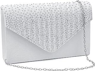 Milisente Damen Abendtasche Glitter Clutch Hochzeit Schultertasche Elegante Handtasche (Tasche Silber)