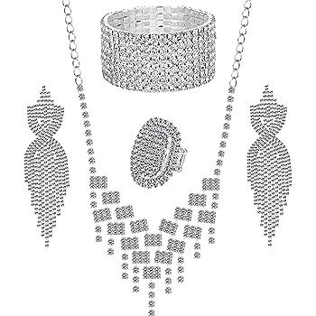 LOYALLOOK Crystal Rhinestones and Cubic Zircon Necklace, Teardrop Crystal Tassels Dangle Earrings,8 Strand Rhinestone Stretch Bracelet,Stretch Ring Jewelry Set for Wedding,Bridesmaids