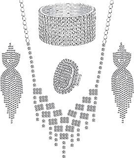 Crystal Rhinestones and Cubic Zircon Necklace, Teardrop Crystal Tassels Dangle Earrings,8 Strand Rhinestone Stretch Bracelet,Stretch Ring Jewelry Set for Wedding,Bridesmaids