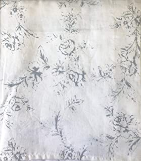Tahari Home Window Curtains Gray Floral Roses Print Belgian Linen Panels Drapery, 50 Inches by 84 Inches