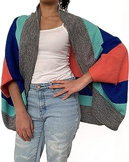 Poncho texturas con franjas de colores, Two Sisters ®, unitalla para mujer. Diseño exclusivo hecho en México