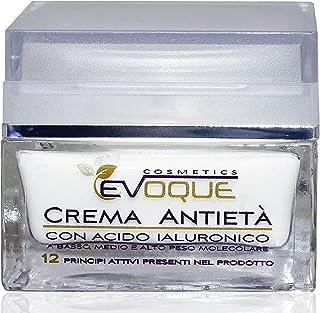 Crema Facial Antiarrugas Mujer con Ácido Hialurónico Puro. Antiarrugas e Hidratante Rica en Ingredientes Activos Vegano. Evoque Cosmetics Italy.