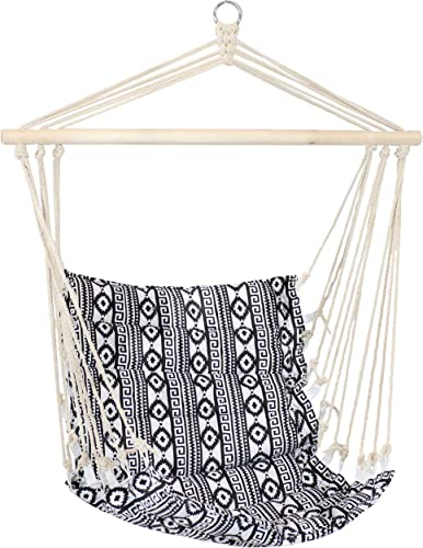 popular Sunnydaze Padded Hammock Chair - Comfortable Outdoor Hanging Chair - Polycotton Fabric with Hardwood Spreader Bar - Perfect for Lawn, outlet online sale Balcony or wholesale Patio - Ancient Tribal Print online sale