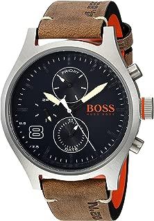 Hugo Boss Men's Analog Quartz Watch with Leather Calfskin Strap 1550021