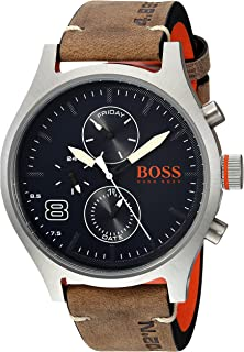 HUGO BOSS Men's Amsterdam Stainless Steel Quartz Watch with Leather Calfskin Strap, Grey, 22 (Model: 1550021