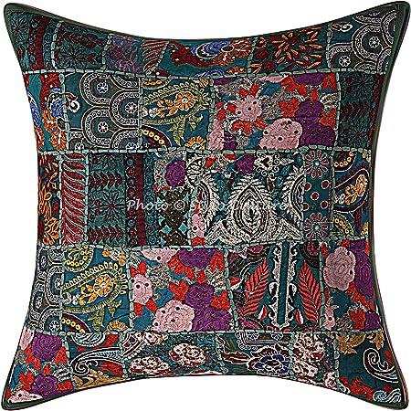 Stylo Culture Décoratif Indien Coton Housse De Coussin 60x60 cm Vert Indiennes Patchwork 24 x 24 Pouces Décor Lounge Bohémien Abstrait Carré Taie d'oreiller