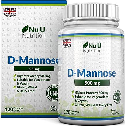 D-Mannosio 500mg Compresse   120 Compresse   Alta Forza   Senza Allergeni e Adatto a Vegetariani e Vegani   Non Sono Capsule o Polvere di D-Mannosio   Prodotto nel Regno Unito da Nu U Nutrition