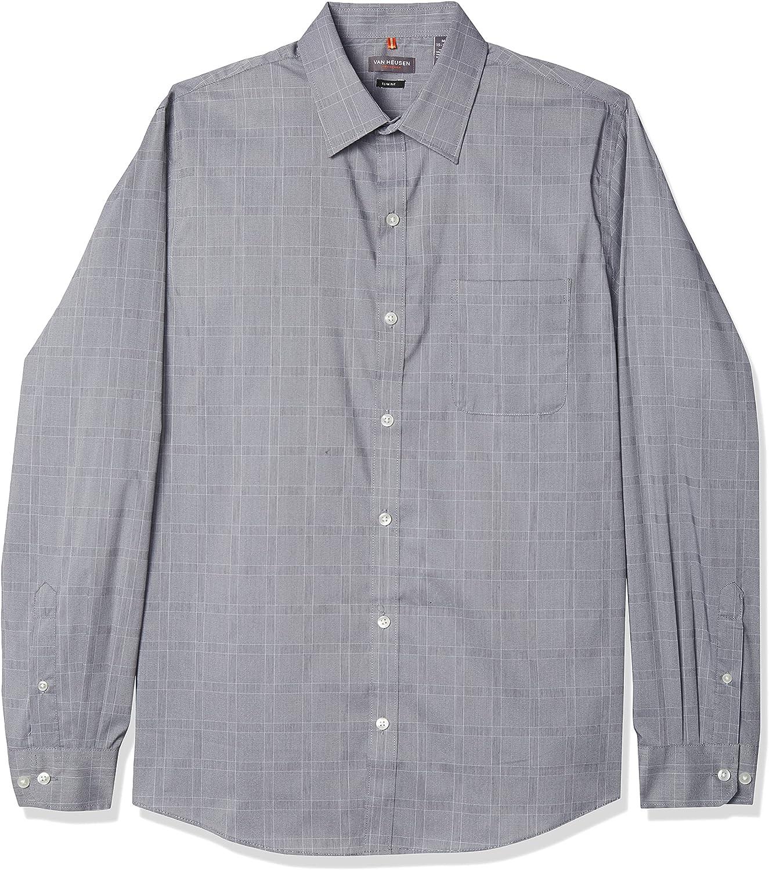 Van Heusen Men's Slim Fit Traveler Stretch Long Sleeve Button Down Non Iron Shirt