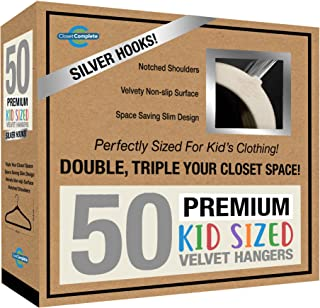 Closet Complete Kids Size, Premium Heavyweight, Virtually-Unbreakable, Velvet Hangers – Ultra-Thin, Space Saving, No-Slip, 360º Spin, Perfectly Sized for Kids 4-15 Years, Ivory, Set of 50