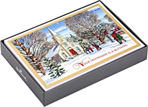 Hallmark Religious Boxed Christmas Cards, Winter Church (16 Cards and 17 Envelopes)