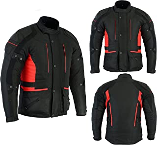 Sterling Sports® Mens Waterproof Motorbike Motorcycle Jacket in Cordura Fabric and CE Approved Armour (XL, Black Red)