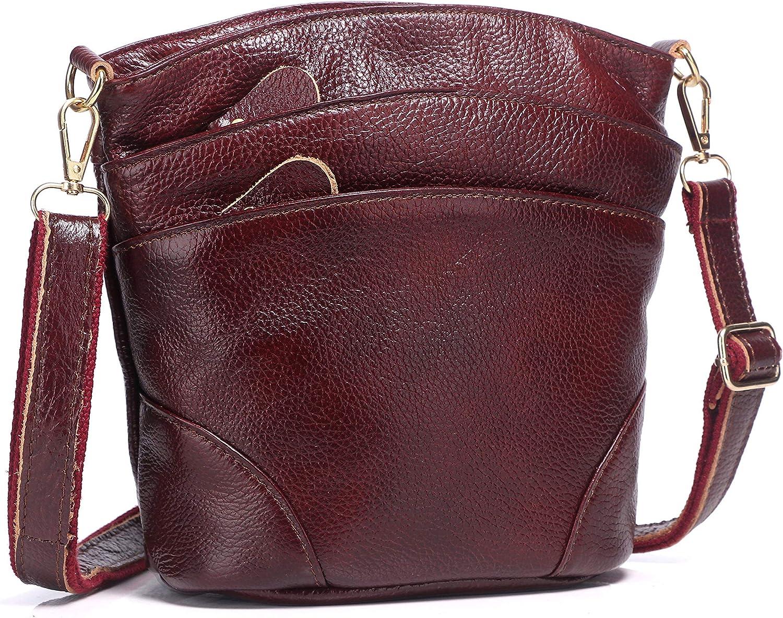 Genuine Leather Multi Pocket Triple Zipper Crossbody Purse