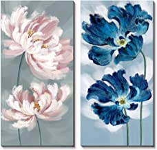 3Hdeko - Large Flower Wall Art Navy Blue Pink Floral Painting for Living Room Bedroom Decor, 2 Pieces Modern Poppy Peony Picture Canvas Prints, Ready to Hang (20x40inchx2pcs)