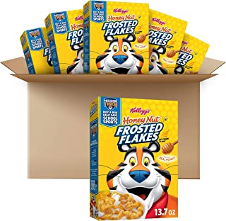 Kellogg's Frosted Flakes Breakfast Cereal, Honey Nut, Made with Real Honey, Kids Breakfast, 13.7 oz Box (6 Boxes)