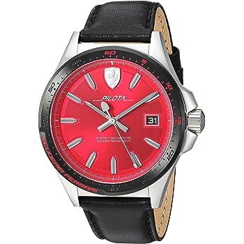 Ferrari Men's Pilota Stainless Steel Quartz Watch with Leather Calfskin Strap, Black, 21 (Model: 830489)