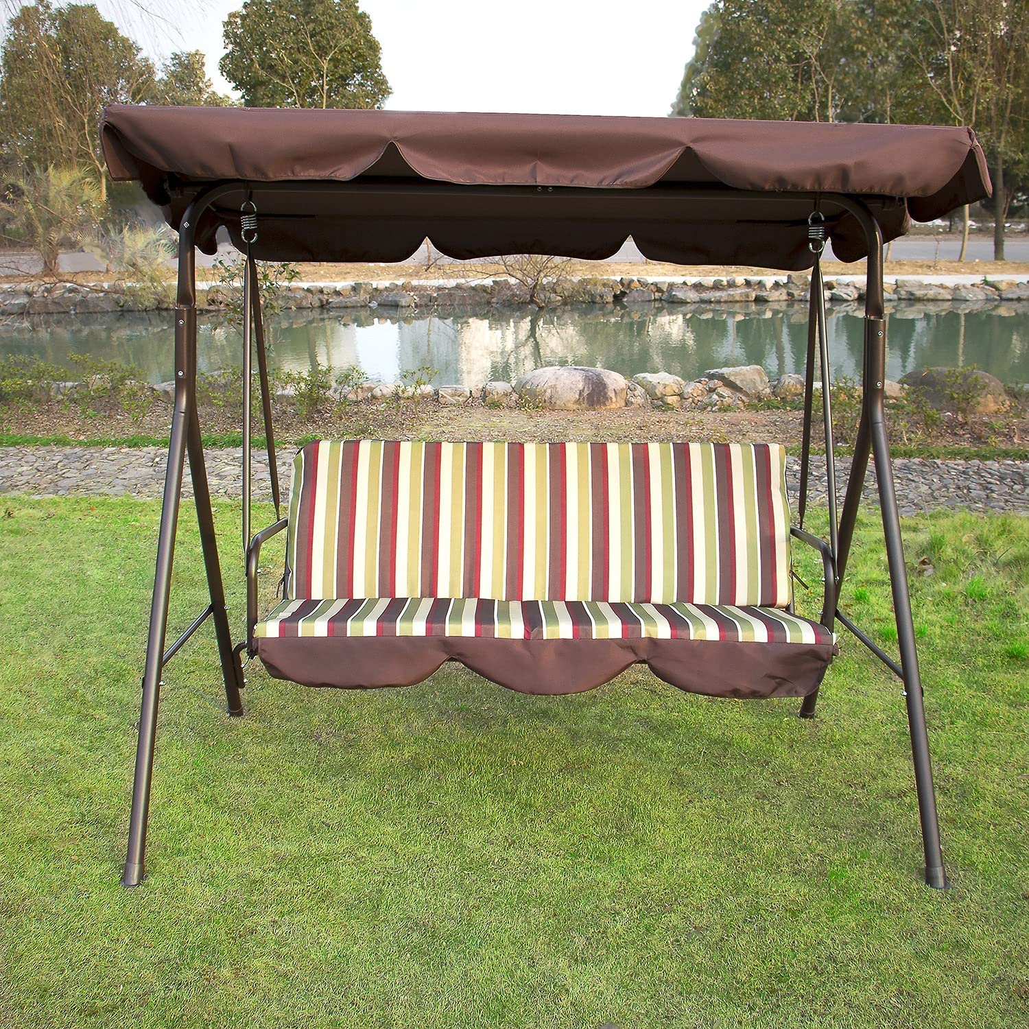 LCSA Outdoor 3 Person Canopy OFFicial mail order Swing Chair Limited time trial price Patio Y Backyard Awning
