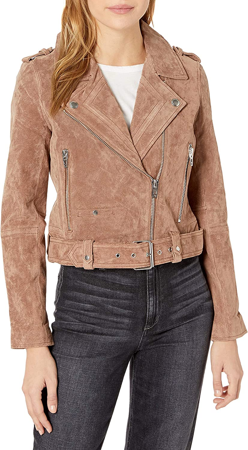 [BLANKNYC] womens Luxury Clothing Cropped Suede Leather Motorcycle Jacket